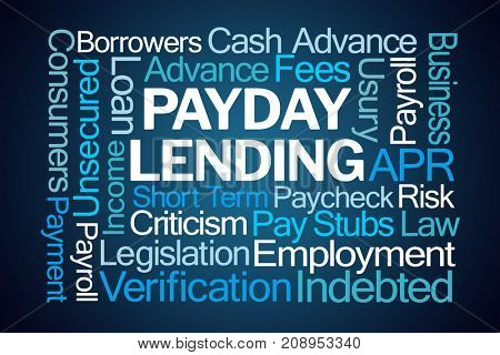 Payday Lending Word Cloud on Blue Background
