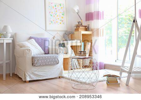 Interior of beautiful light modern room