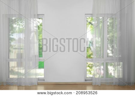 Windows with beautiful curtains, indoor