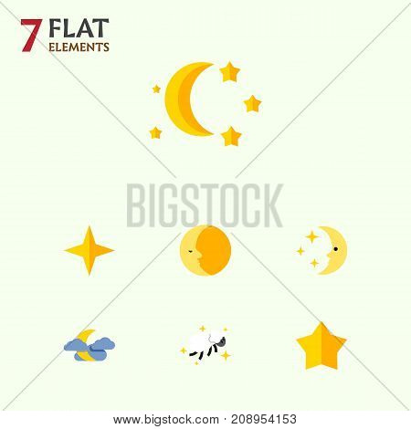Flat Icon Night Set Of Night, Starlet, Lunar And Other Vector Objects