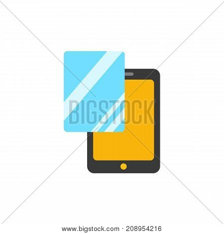 Vector icon of glass protector for digital tablet. Screen protector, glass change, touchpad accessory. Protection concept. Can be used for topics like technology, business, service