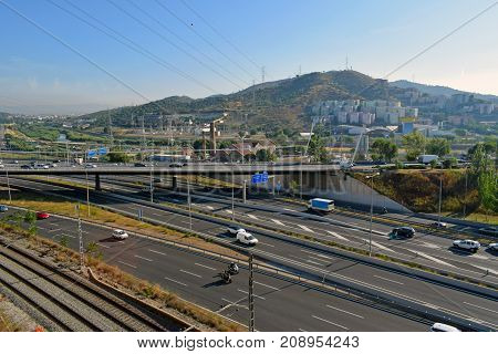 Landscape of highway and roads of entry to Barcelona