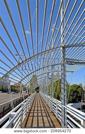 Bridge crosses of highways in entry to Barcelona