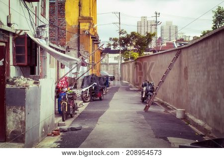 A shanghai alleyway near middle fangbang road and the cixiu nun temple in Puxi side of shanghai china.
