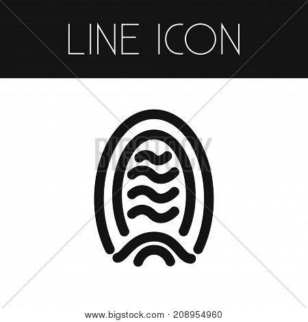 Biometric Vector Element Can Be Used For Fingerprint, Biometric, Identity Design Concept.  Isolated Fingerprint Outline.