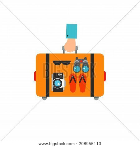 Vector icon of hands holding suitcase with flip flops, camera, sunglasses and binocular. Tourist, trip, summer resort. Tour planning concept. Can be used for topics like travel, tourism, vacation