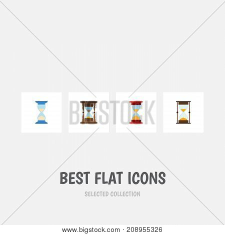 Flat Icon Sandglass Set Of Waiting, Minute Measuring, Loading And Other Vector Objects