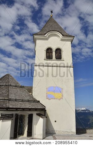 The church of Santa Maria in Excelsis on top of Monte Lussari in Friuli Venezie Giulia in north east Italy