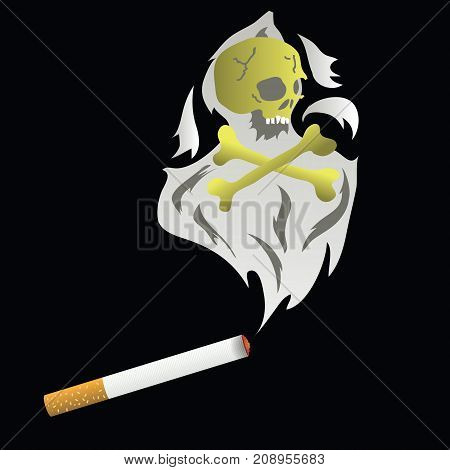 Burning Cigarette and Thick Smoke Isolated on Black Background