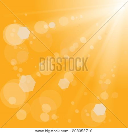 Summer Sun Rays with Flares and Lens. Orange Light Pattern