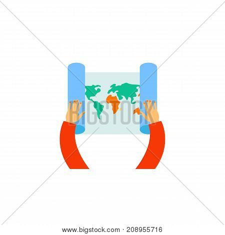 Vector icon of hands holding world map. Trip, exploration, vacation. Tour planning concept. Can be used for topics like travel, tourism, geography