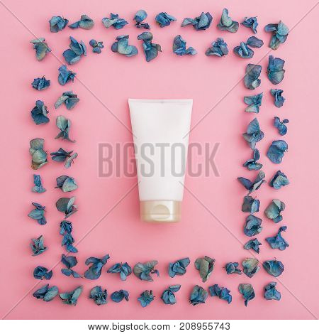 Petals hydrangea and women's accessories. Flat lay, Top view