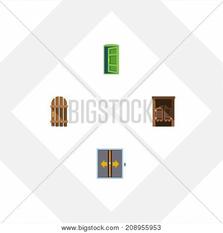 Flat Icon Approach Set Of Wooden Fence, Saloon, Frame And Other Vector Objects
