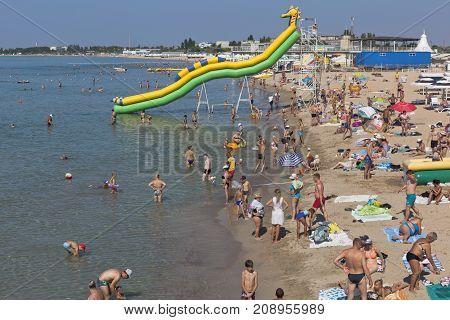Evpatoria, Republic of Crimea, Russia - July 22, 2017: Beach