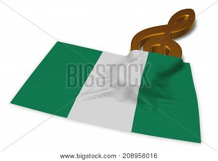 clef symbol symbol and flag of nigeria - 3d rendering