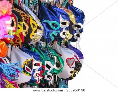 Mexican luchador masks for sale at the downton of Monterrey