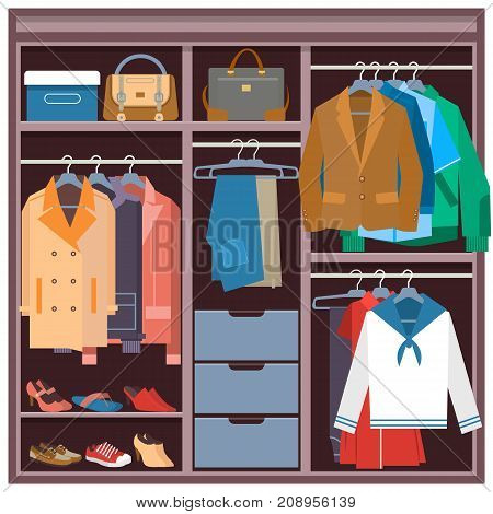 Vector illustration of wardrobe full of clothing, shoes, bags. Closet with clothes and accessories in flat style.