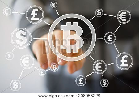 Bitcoin Trading Network And Chain. Blockchain Network And Technology.