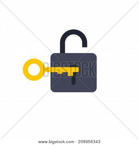 Vector icon of lock with key. Padlock, password, solution. Protection concept. Can be used for topics like security, privacy, business