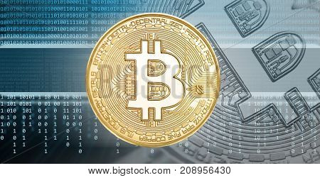Bitcoin Cryptocurrency Concept. Blockchain and digital background