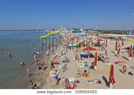 Evpatoria, Republic of Crimea, Russia - July 22, 2017: Lifeguard tower at the Rodnikoch beach in the resort town of Evpatoria