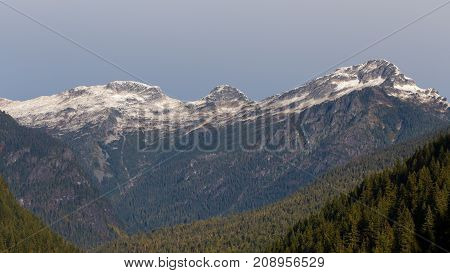 Morning view of Elephant Butte and neighboring mountains during the Autumn Season located in the North Cascades National Park.