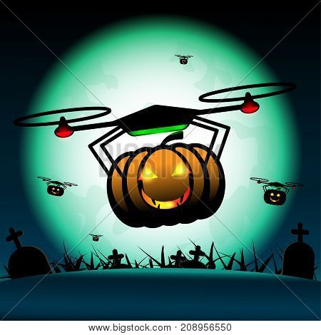 Vector pumpkin halloween drones fly on halloween. Full-moon above graves at midnight background.
