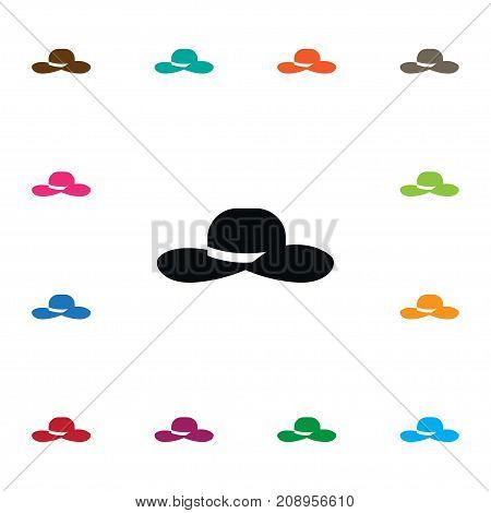 Fedora Vector Element Can Be Used For Fedora, Broad, Brim Design Concept.  Isolated Broad Brim Icon.