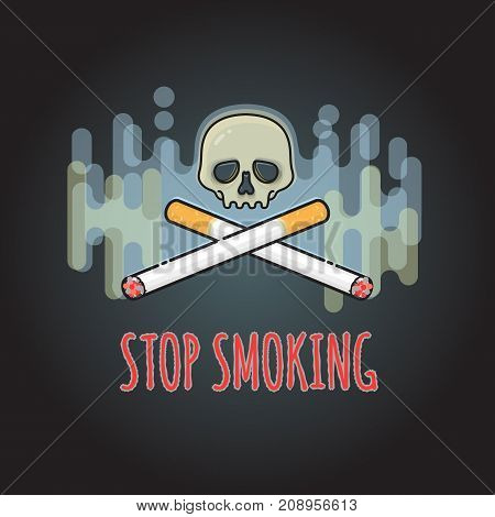 Stop smoking sign with cigarette and skull. Vector health care banner background. Smoking harm poster. Skull with cigarette and fume. No tobacco concept.