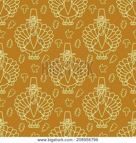 Turkey bird with hat and autumn leaves on brown background. Thanksgiving Holiday Seamless Pattern. Silhouette Turkey and leaves. Vector Background. Autumn Texture. Design template for package. Seamless packaging background.