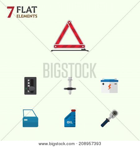 Flat Icon Service Set Of Petrol, Muffler, Automatic Transmission And Other Vector Objects