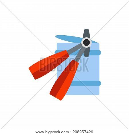 Vector icon of device opening food can. Tin, tinned meat, pickled vegetables. Canned food concept. Can be used for topics like food, kitchen equipment, provisions