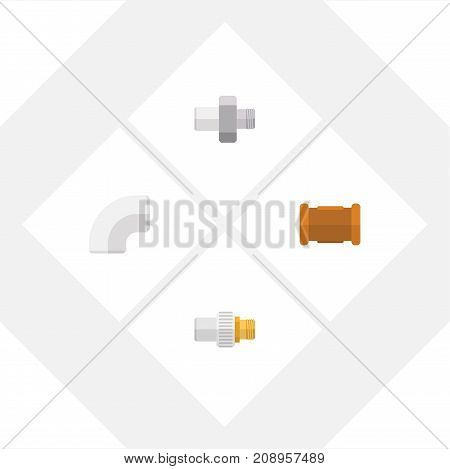 Flat Icon Pipeline Set Of Pipe, Industry, Plastic And Other Vector Objects