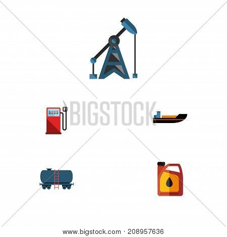Flat Icon Oil Set Of Rig, Container, Boat And Other Vector Objects