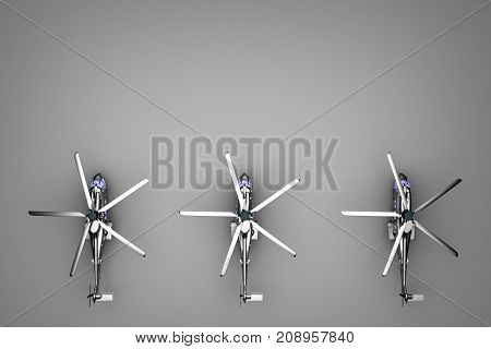 group of helicopters from above view. 3d rendering