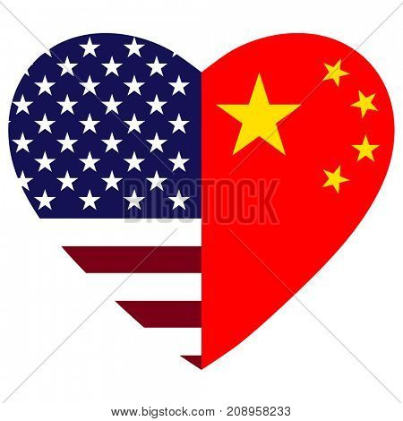 USA and China flags heart.