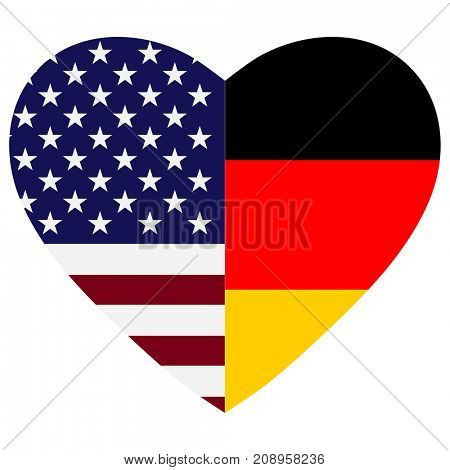 US and Germany flags heart.
