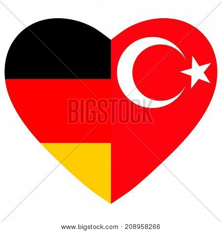 Germany and China flags heart.