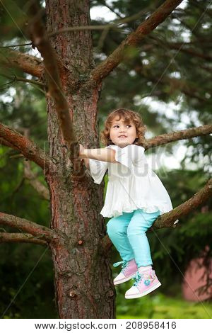 Adorable toddler girl climb on a three without help having fun in summer day childhood and nature concept.