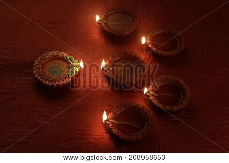 Beautiful Indian Diwali Festival Diya Light Decoration