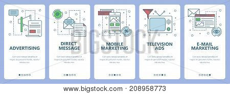 Vector set of vertical banners with Advertising, Direct message, Mobile marketing, Television ads, e-mail marketing concept web elements. Modern thin line flat symbols, icons for website menu, print.
