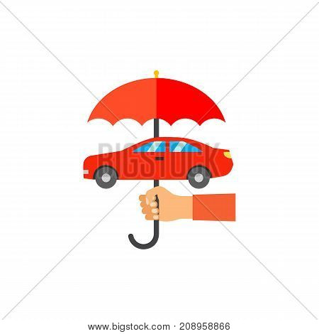 Vector icon of hand holding umbrella over car. Vehicle insurance, guard, repair service. Protection concept. Can be used for topics like service, business, transport