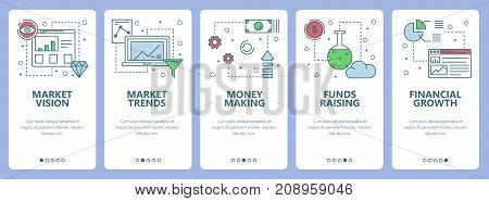 Vector set of vertical banners with Market vision, Market trends, Money making, Funds raising, Financial growth concept web elements. Modern thin line flat symbols, icons for website menu, print.