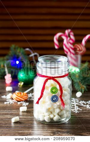 Christmas Gift Snowman Sweets Marshmallows In A Jar. Made By Own Hands. Children's Art Project For C