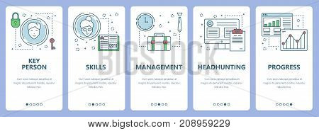 Vector set of vertical banners with Key person, Skills, Management, Headhunting, Progress concept web elements. Modern thin line flat symbols, icons for website menu, print.