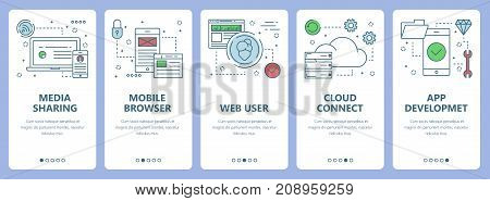 Vector set of vertical banners with Media sharing, Mobile browser, Web user, Cloud connect, App development concept web elements. Modern thin line flat symbols, icons for website menu, print.