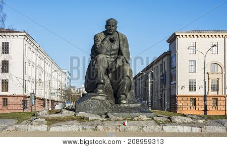Belarus Minsk - 27.03.2017: Monument to Yakub Kolos on the Square of the same name