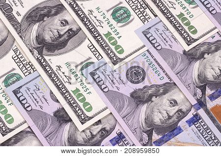 Hundred Dollar Abstract Background New And Old Bills.