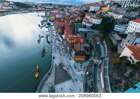 Bird's-eye view Douro river and Ribeira at dusk, Porto, Portugal.