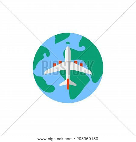 Vector icon of airplane flying over globe. World tour, air travel, flight. Tour planning concept. Can be used for topics like travel, tourism, vacation